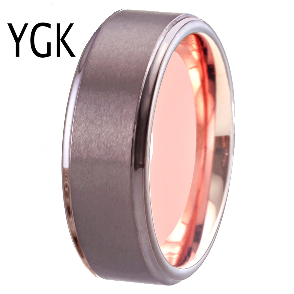 8mm Men S Jewelry Gunmetal Tungsten Ring Rose Golden Inside