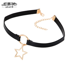 ASACH Simple Design Hollow Star Pendant Necklaces Chokers For Women Girls Steampunk PU Leather Chocker collier ras du cou colar