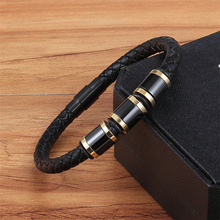 XQNI Casual/Sporty Style Genuine Leather Bracelet Black Alloy Buckle Stainless Steel Bangle For Men Cool Boys Birthday Gift