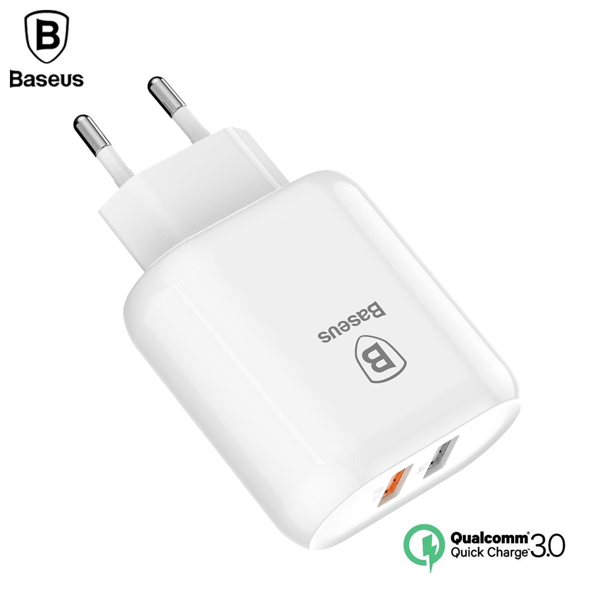 Baseus QC 3,0 adaptador de cargador USB Dual Enchufe europeo cargador de pared de viaje Cargador rápido para iPhone Samsung Xiaomi cargador de teléfono móvil