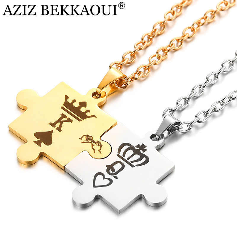 AZIZ BEKKAOUI Letters K & Q Couple Necklaces with Crown Stainless Steel Tag Pendant Necklace King & Queen Dropshipping