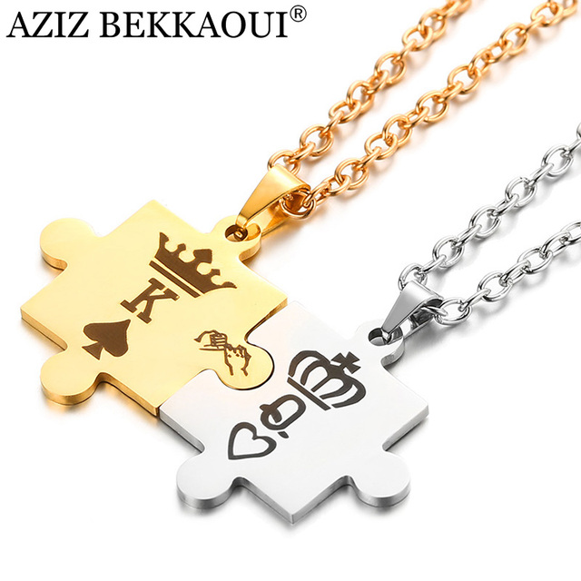 AZIZ BEKKAOUI Letters K & Q Couple Necklaces with Crown Stainless Steel Tag Pend