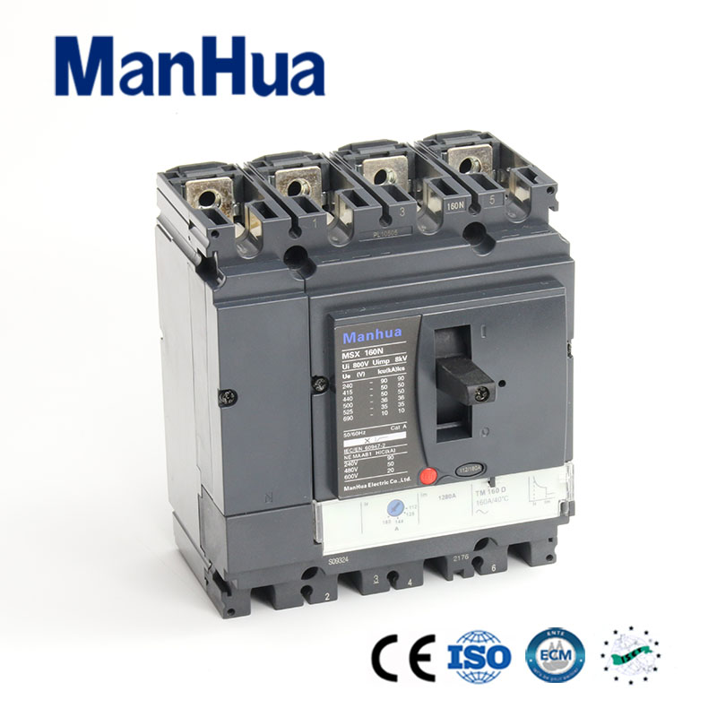 Manhua CB CE Certificated 36KA Breaking Capacity Adjustable Moulded Case Circuit Breaker 160A 400 amp 3 pole cm1 type moulded case type circuit breaker mccb