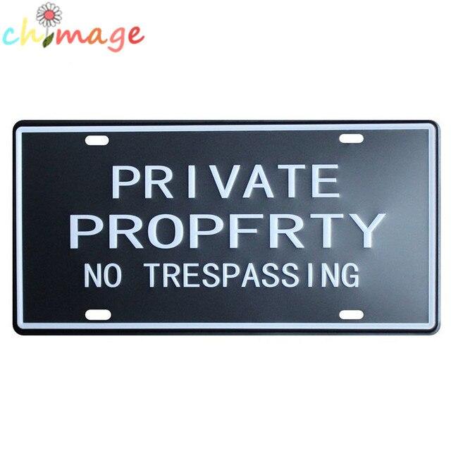 Private Propfrty No Tresping License Plate Vintage Tin Sign Bar Pub Home Kitchen Wall Decor Retro Metal Art Poster