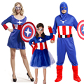 Mother Father Baby Captain America Dresses for Girls Women Performance Party Costumes for Men Boys Family Clothes with Shield