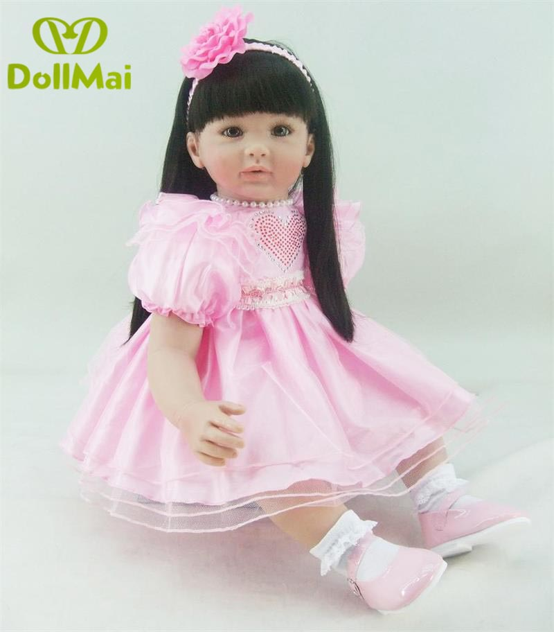 60cm Silicone Reborn Baby Doll Toys Like Real 24inch Vinyl Princess girl adorable doll pink dress babies dolls toys gift 60cm Silicone Reborn Baby Doll Toys Like Real 24inch Vinyl Princess girl adorable doll pink dress babies dolls toys gift