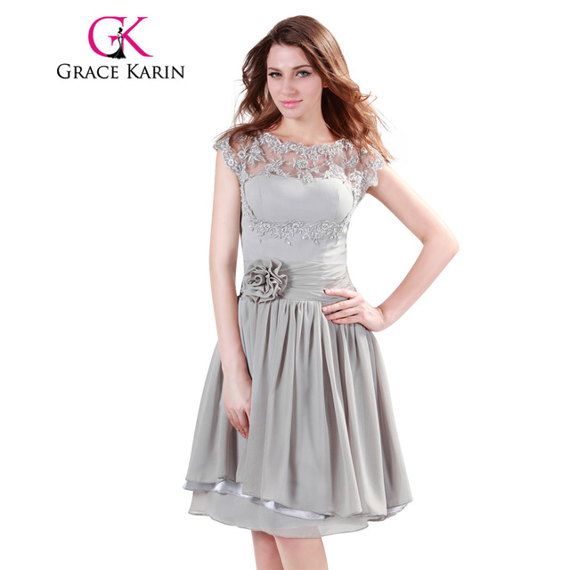 Grace Karin Bridesmaid Dresses Short Midi Grey Chiffon Formal Wedding Party Dress Cap Sleeve Lace Special
