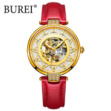 BUREI Automatic Watch Women Luxury Leather Sapphire Red Waterproof Mechanical Watches Skeleton Diamond Lady Elegant Wristwatch