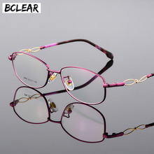 BCLEAR 2018 New Designer Woman Glasses Optical Frames Alloy Oval Frame Clear Lens Eyewear Black Red Pink Purple Eyeglass