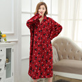 Womens Winter medium thick polar Fleece Homewear Foral long robes sleepwear women's clothes for home large skirts style robe