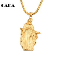 CARA Jewelry Statement Necklace Long Pendant Necklaces Men Accessories Necklace Stainless Steel Virgin Mary Pendant CAGF0051