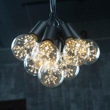 Vintage 7 Cabezas de Hierro Negro lámpara Colgante Luces Arte Decoración Industrial E27 Lámparas Loft Salón Bar del Hotel de Interior de Iluminación BRICOLAJE