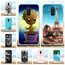 For Samsung Galaxy A6 Plus 2018 Cover Soft TPU A9 Star Lite Case Lion Patterned Jean Funda