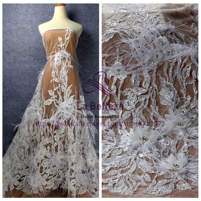 1 yard Stock off white/Beige/gray heavy big leaves beading handmade 3D flowers feather wedding/evening dress lace fabric