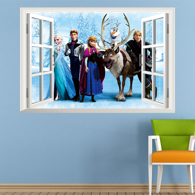 Fashion Cartoon Elsa Anna wall stickers girl Children room background decor stickers removable kids bedroom movie poster decal in Wall Stickers from Home Garden