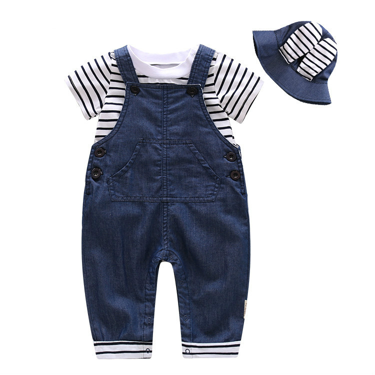 2017 New Cotton Baby Boy Clothes Summer Toddler Boys Striped T-shirt+Rompers+Sunhat 3pcs/set Clothing Set Kids Clothes