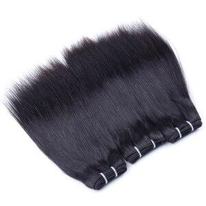 Image 4 - 50 gr/teil Brasilianische Menschliches Haar Bundles Mit Schließung Gerade Haar Bundles Mit Verschluss 4 Bundles Mit Mittelteil Verschluss Nicht Remy