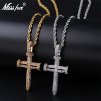 Missfox Nail Shape Full Zircon Cross Men's Hiphop Pendant Fashion Necklace Stainless Steel Zircon Gold Classic Best Jewelry 2019