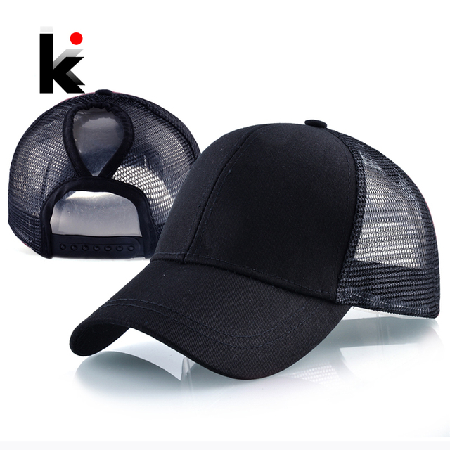e17326ba0da 2018 New Fashion Ponytail Baseball Cap Women Summer Mesh Snapback Hats  Female Messy Bun Black Hat Casual Cotton Bone Casquette