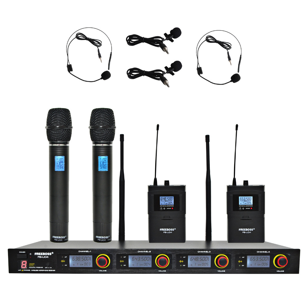 FREEBOSS FB-U04H2 Professional Microphones UHF  KTV Party Mic System 2 Handheld and 2 Headset Wireless Karaoke Microphone цены онлайн