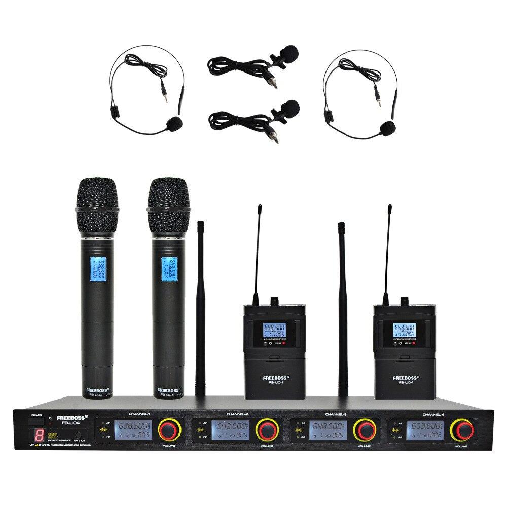 FREEBOSS FB-U04H2 Professionnel Microphones UHF KTV Partie Mic Système 2 De Poche et 2 Casque Sans Fil Karaoké Microphone