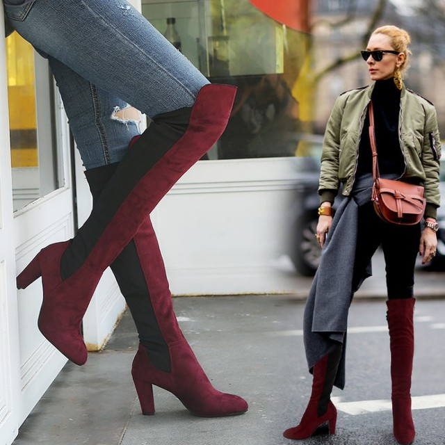dfb5911b036 over the knee boots Plus Size Women Winter Snow Boots girls shoes Adult female  thigh high overknee boots rain booties woman 2018
