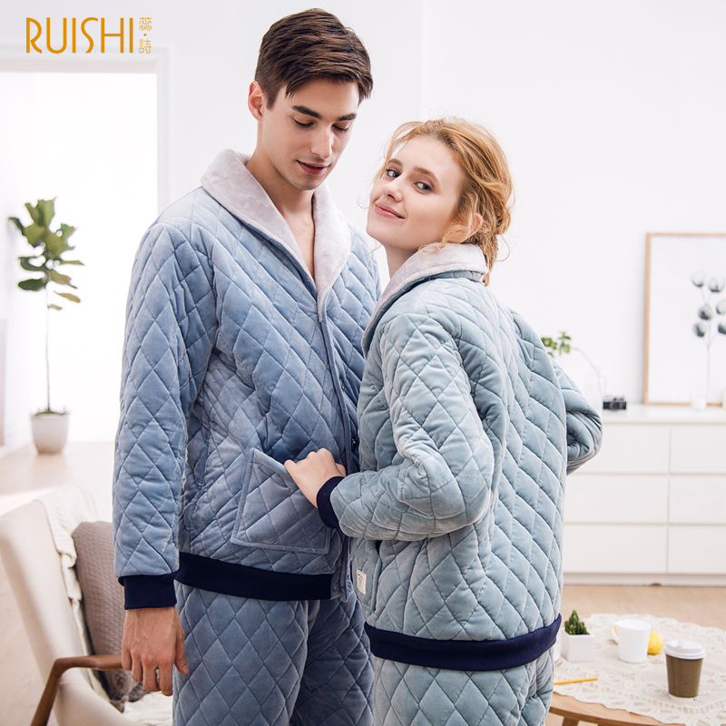 J&Q New 2019 Couple Night Suits Men And Women Thick   Pajamas     Sets   Winter Sleepwear Home Wear Warm   Pajamas   Couple Matching   Pajamas