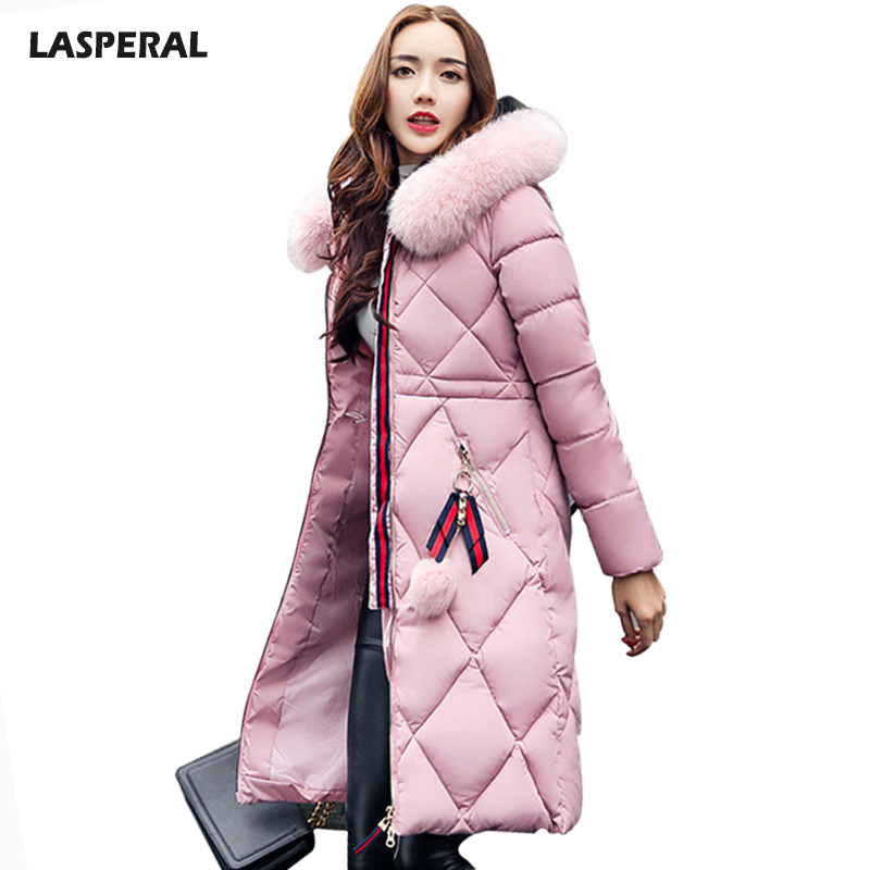LASPERAL Faux Fur Hooded Long Women's Down Jacket Plus Size  Slim Thicker Warm Stylish Jacket Coats Winter Female Coat Parka цены онлайн