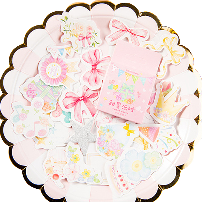 46pcs/pack Sweet Party Boxed Stickers Children Daily Sticker Paper Card Pattern Diary Office Calendar Stationery