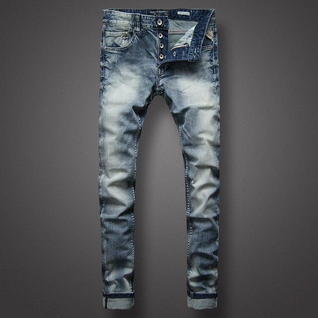 32a1c7ca13fe9 Bleu clair mode hommes Jeans italien classique Style Simple Denim boutons  pantalon Balplein marque Jeans hommes Slim Biker Jeans Homme