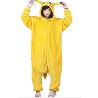 Unisex Pikachu Adult Flannel Hooded Pajamas Cosplay Cartoon Cute Animal Onesies Sleepwear For Women Men