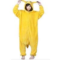 Unisex Pikachu Adult Flannel Hooded Pajamas Cosplay Cartoon Cute Animal Onesies Sleepwear For Women Men