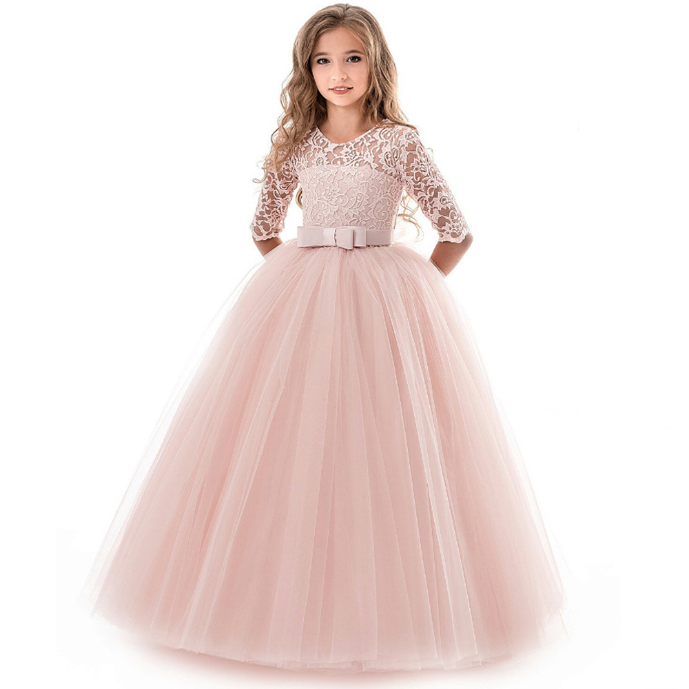 Kids White Bridesmaid Wedding Flower Girls Dress Elegant Long Gown Party Dresses For Girls Lace Princess Dress Children Costumes