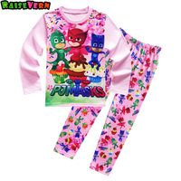 3 8T Kids Pj Mask Ninjago Cartoon Long Sleeve T Shirt Floral Pant Boy Girls Casual