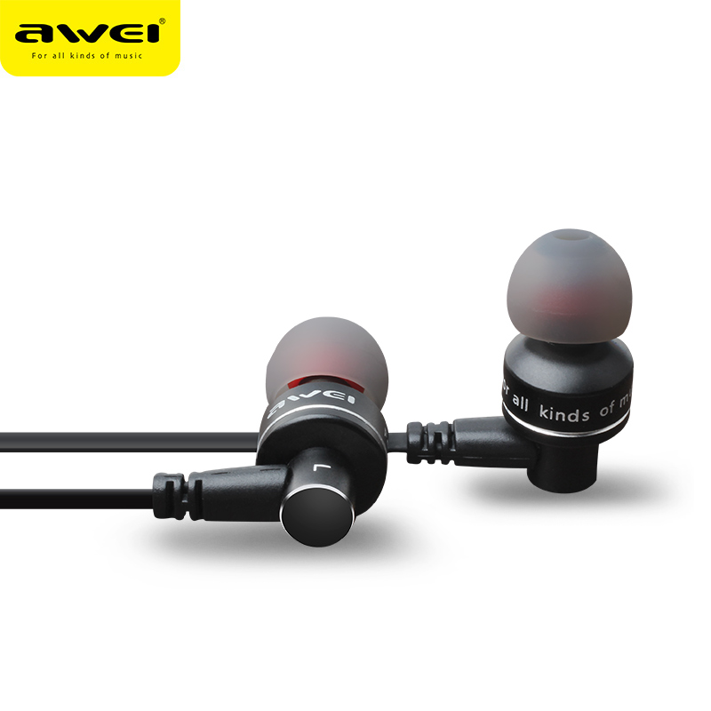 AWEI ES-10TY Metal Stereo In-Ear Wired Hodetelefon Støyreduksjon Hodetelefon Super Bass HIFI Kulakl K Med Mic For iPhone Andriod
