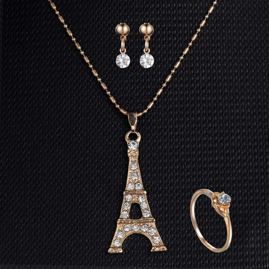 Building Tower Pendant Necklaces Earring Rings Set For Women Wedding Party Girl Gift Engagement Jewelry set