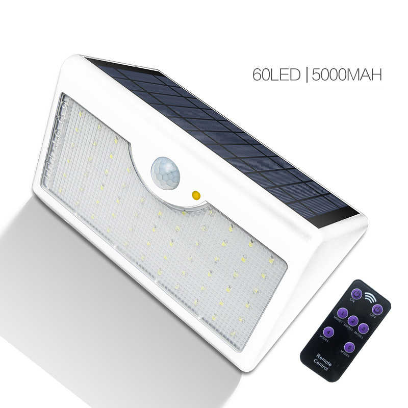 60 LED 5 Modes Remote Control Solar LED Lamp Infrared PIR Motion Sense Waterproof LED Street Wall Light Outdoor Garden Lighting