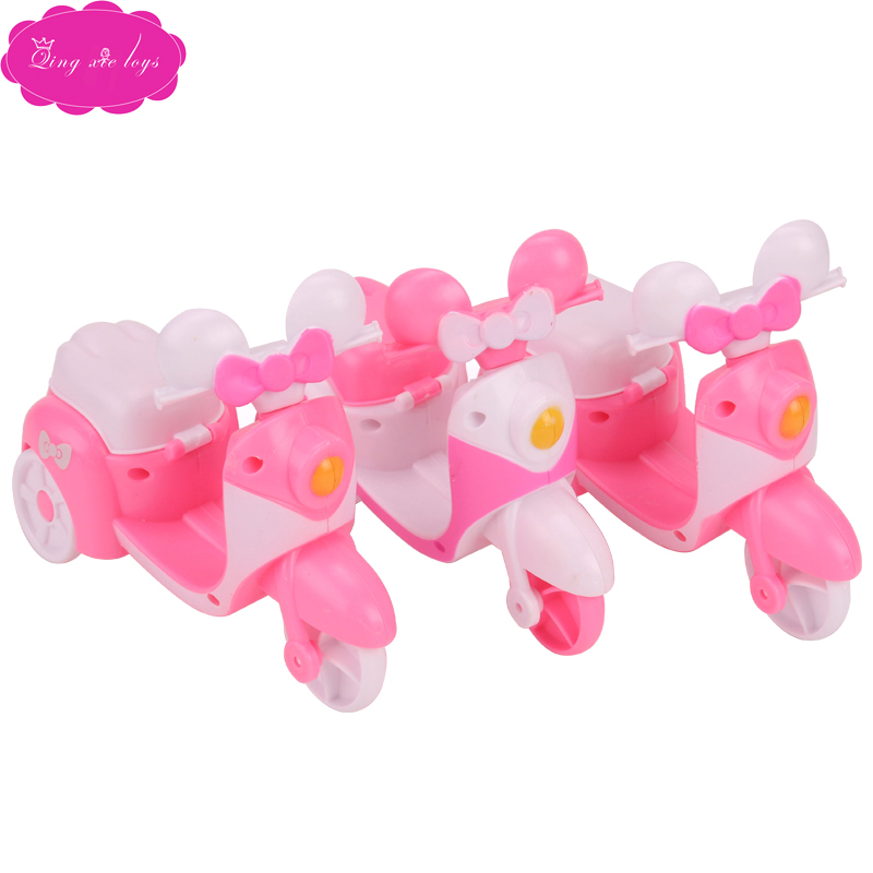 Dolls Miniature Dollhouse Pink Mini Women's Motorcycles American Babie Girl Toys Accessories White Motorbike Gift Q16