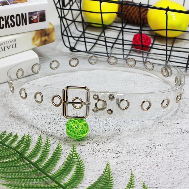 2019 Fashion Transparent PVC Belts For Women Silver Metal Square Pin Buckle Waist Belt Harajuku Grommet Waistband