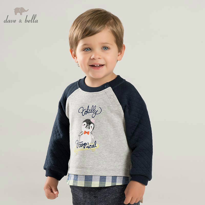 DBZ8569 dave bella autumn baby boys print pullover children long sleeve t-shirt infant toddler high quality tops kids tees цена 2017
