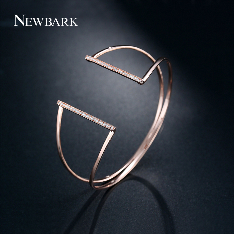 NEWBARK Brand Fashion Copper Bracelets&Bangles Women Love Geometric Triangle Open Cuff Punk Adjustable Expandable Bangle