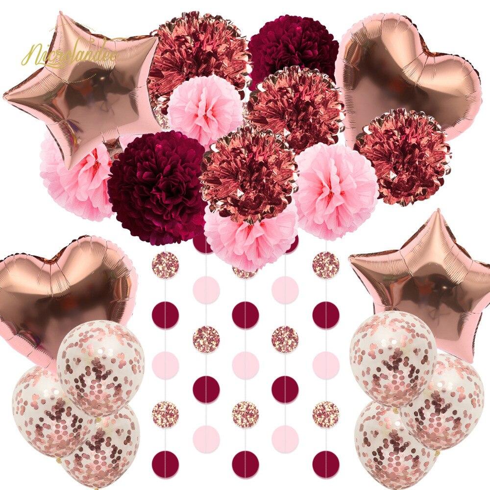 NICROLANDEE 22 pcs/set Balloons Paper Flowers Confetti Valentines Day Decoration Birthday Graduation Home Party DIY