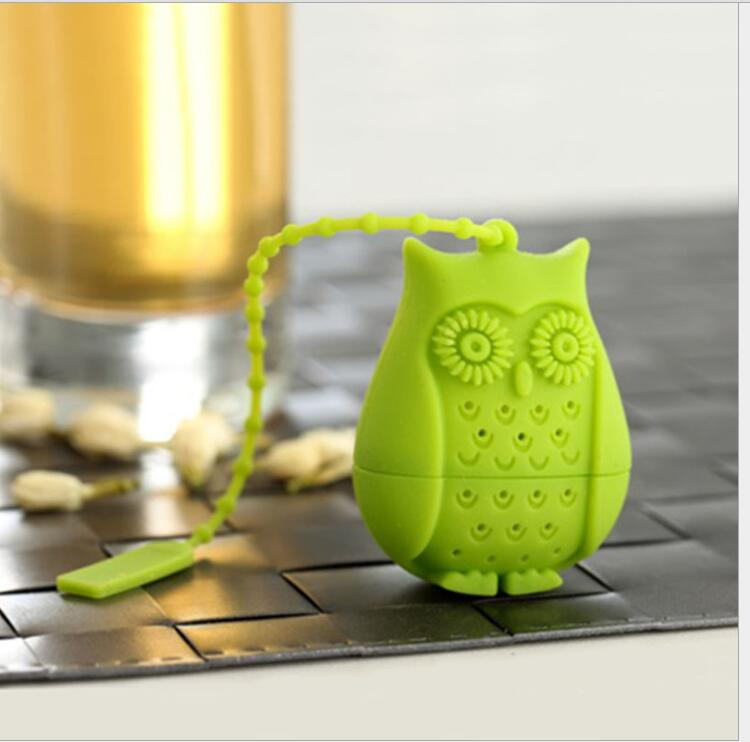2016 Hot Sale Owl Tea Bags Strainers Silicone Teaspoon Filter Infuser Silica Gel Filtration Silicone Loose-leaf Tea Infuser Filt
