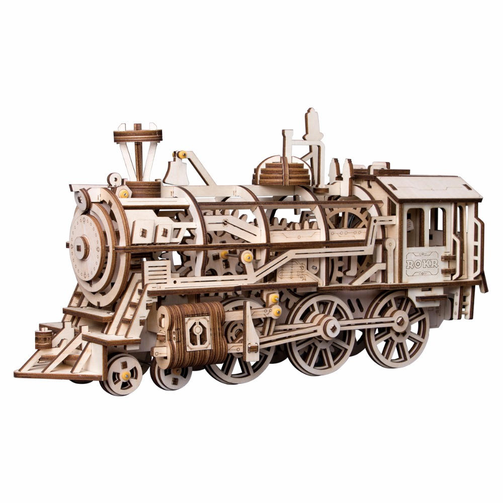 Robotime DIY Clockwork Gear Drive Locomotive 3D Wooden Model Building Kits Toys Hobbies Gift For Children Adult LK701