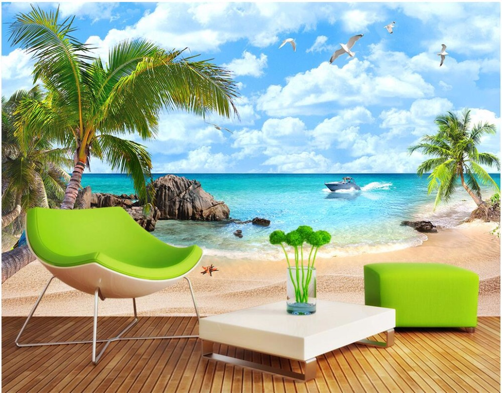 3d wallpaper custom mural photo Sea view Mediterranean beach scenery room painting 3d wall murals wall paper for walls 3 d