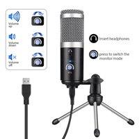 Профессиональный конденсаторный микрофон для компьютера PC USB разъем + штатив Стенд YouTube вещания Запись микрофона караоке микрофон