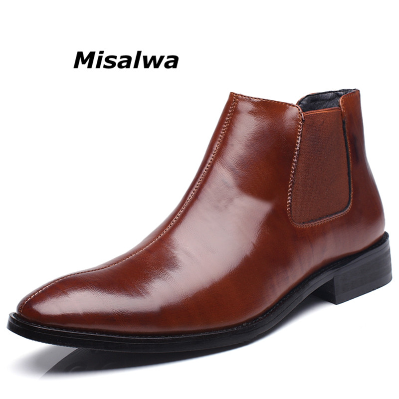 Misalwa Printemps Hiver De Fourrure Hommes de Chelsea Bottes En Cuir Casual Chaussures Hommes Style Britannique Slip-sur Robe De Mariée Courte boot Pour Homme