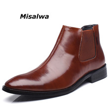 Misalwa Spring Winter Fur Men's Chelsea Boots Leather Casual Shoes Male British Style Slip-on Wedding Dress Short Boot For Man