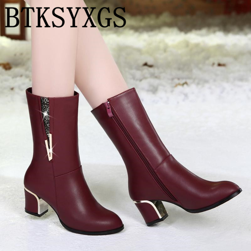 BTKSYXGS 2017 New winter fashion Women s snow boots leather Woman High Heels Women Middle Tube