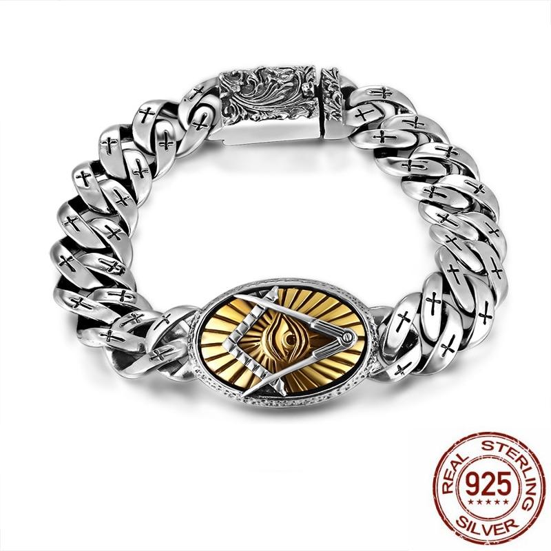 Men Bracelet 925 Sterling Silver Vintage Flower Cross Bracelets Punk Rock Gold Eye Of Horus Fashion Personality Jewelry Gift a suit of vintage devil eye faux leather beads bracelets for men
